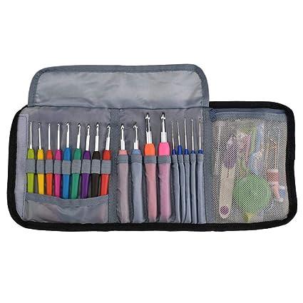 Kit de ganchos de ganchillo para viaje de 64 piezas Conjunto de herramientas de tejido de punto con estuche de cuero Conjunto de bolsos plegables ...