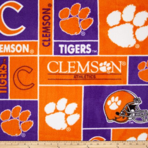 Collegiate Fleece University of Clemson Fabric By The Yard (Tigers Fleece Fabric)