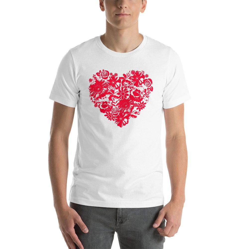 Tronic Worx Floral Heart Love Flower Valentines Short-Sleeve Unisex T-Shirt