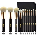 FEIYAN Makeup Brushes Set Goat Natural Hair with Bag (11pcs Black Gold)