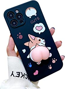 for iPhone 7 Case, Decompression Finger Pinch Cute Soft Silicone Poke Squishy 3D Cartoons Corgi Butt Phone Back Protective Kawaii Cover for Apple iPhone 8 Case (Black, iPhone 7/8)