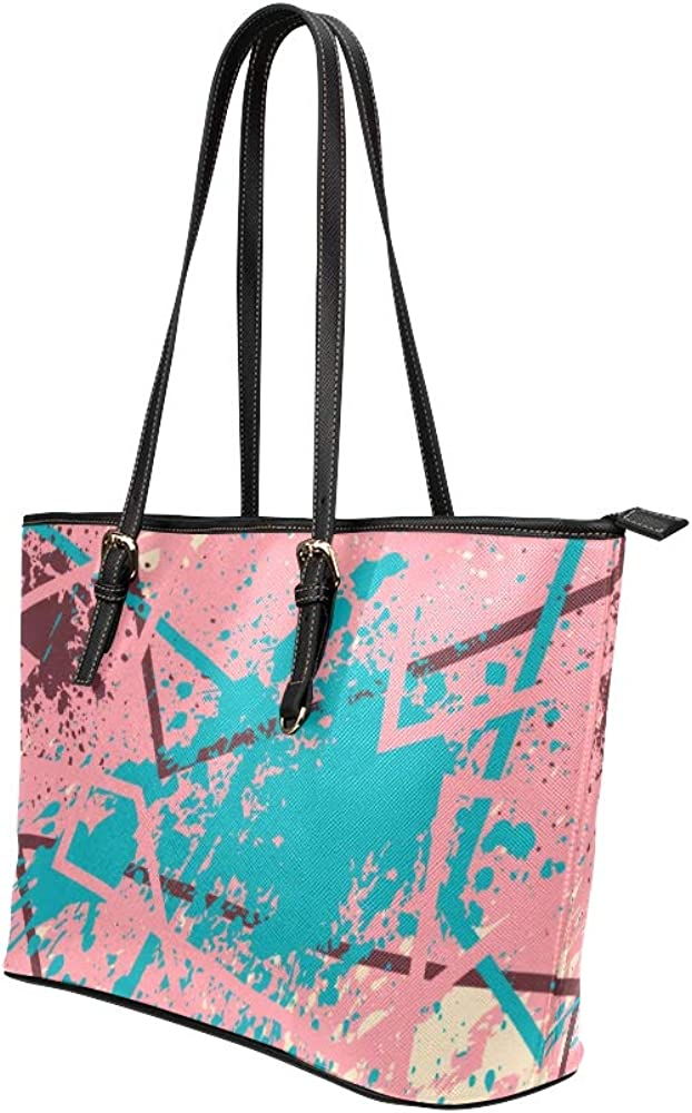 Male Shoulder Bag Art Colorful Paint Block Spray Graffiti Leather Hand Totes Bag Causal Handbags Zipped Shoulder Organizer For Lady Girls Womens Shopping Tote