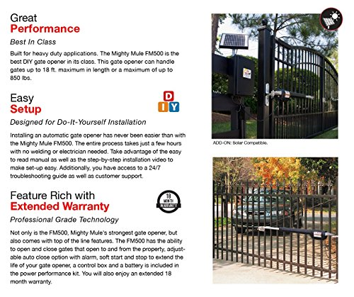 Mighty Mule Automatic Gate Opener For Heavy Duty Single Swing Gates For 18 Feet Long Or 850 Pounds Fm500