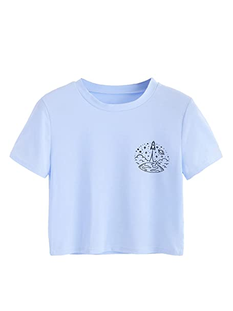 ffa4c12fb8af38 Amazon.com: SweatyRocks Women's Short Sleeve Print Crop Top T-Shirt Casual  Graphic Tee Blue M: Clothing