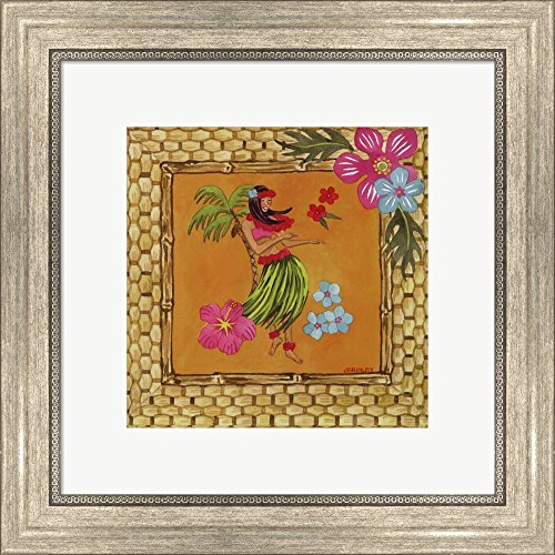 Tiki Girl II by Jennifer Brinley Framed Art Print Wall Picture, Silver Scoop Frame, 16 x 16 inches