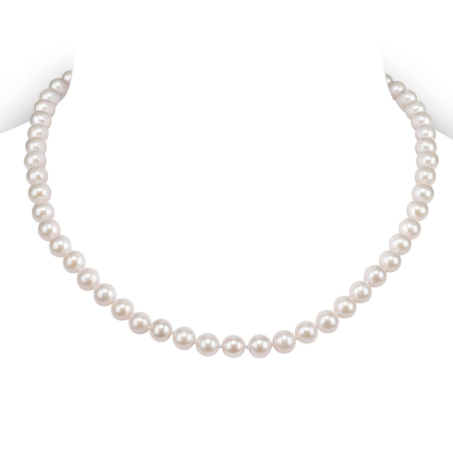 PAVOI Sterling Silver White Freshwater Cultured Pearl Necklace (16, 6mm)