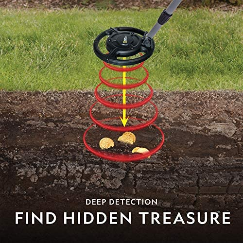 """NATIONAL GEOGRAPHIC Junior Metal Detector for Kids with 7.5"""" Waterproof Dual Coil, Adjustable Lightweight Design for Treasure Hunting Beginners, Includes 5 Replica Gold Doubloon,"""