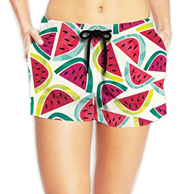 7b6962298d Haibobo Cartoon Watermelon Women's Swim Trunks Quick Dry Water Beach Board  Shorts - Black -