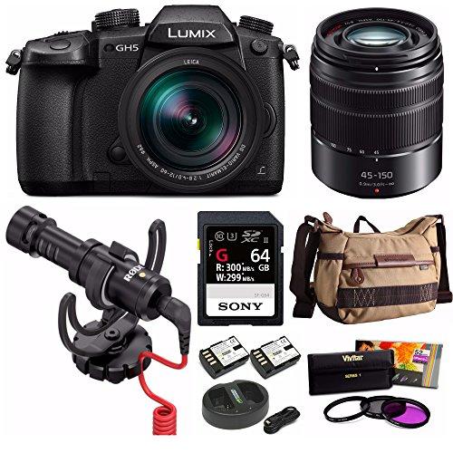 PANASONIC LUMIX DC-GH5LK GH5 4K MIRRORLESS w/LEICA DG 12-60mm + H-FS45150AK 45-150mm 2 Lens Kit Bundle