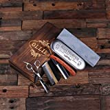 Personalized Straight Razor Blade Wood Comb Scissors & Sharpening Stones Groomsmen Fathers Day Gift