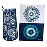 two handed oven mitt - Ulster Weavers Double Oven Glove Mitt and Chic Tea Towel set, Modern Navy Blue and White