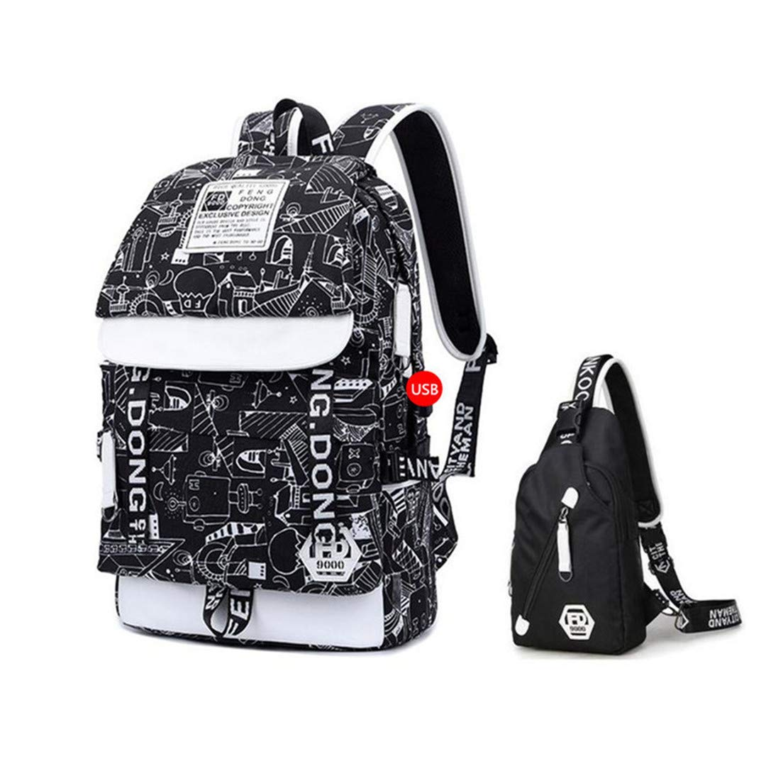 C42pcs Set One_Size USB Charging Backpack for Teenagers Backbag Men Travel Bags Male Sling Shoulder Chest Bag C42pcs Set