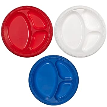 Party Dimensions 10u0026quot; 3 Compartment Plastic Plate Bundle Red White u0026 Blue -  sc 1 st  Amazon.com & Amazon.com: Party Dimensions 10