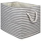 """DII Oversize Woven Paper Storage Basket or Bin, Collapsible & Convenient Home Organization Solution for Office, Bedroom, Closet, Toys, Laundry(Medium - 15x10x12""""), Gray Pin Stripe"""