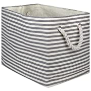 """DII Oversize Woven Paper Storage Basket or Bin, Collapsible & Convenient Home Organization Solution for Office, Bedroom, Closet, Toys, & Laundry(Large - 17x12x12""""), Gray Pin Stripe"""