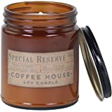 Coffee Scented Soy Wax Candle - Perfect Candles for Men - Rustic Amber Jar with Lid - 8 oz.