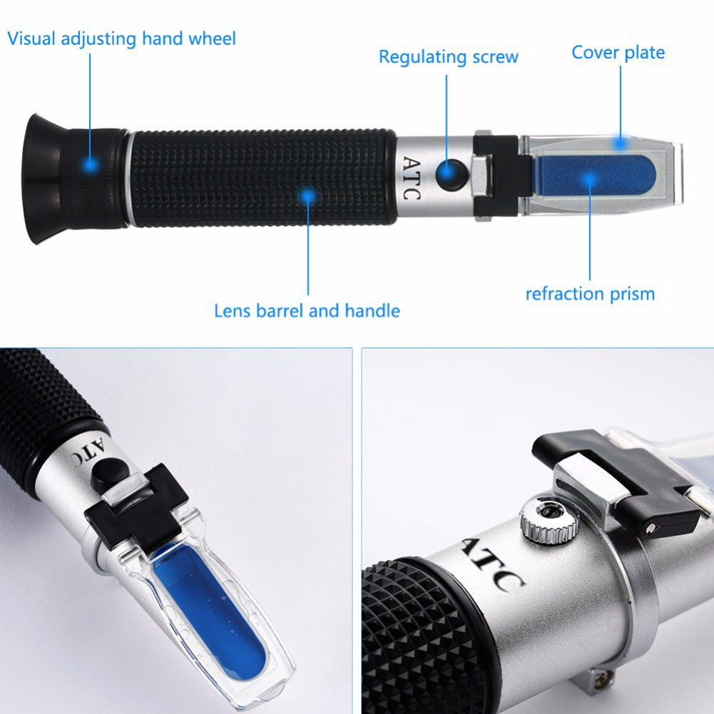 Antifreeze Refractometer Displaying in Fahrenheit for Checking Freezing Point of Automobile Antifreeze Systems and Battery Fluid Condition Coolant Glycol Antifreeze Tester Battery Acid