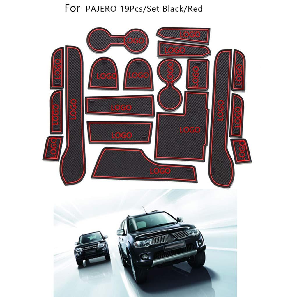 AUWU 19pcs/Set Gate Slot Pad Automotive Interior Non-Slip Mats Replacement for Mitsubishi Pajero 2014-2015