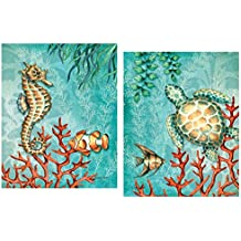 Gango Home Decor Sea Life Turquoise and Orange Under the Ocean Fish Turtle Seahorse and Coral; Two 11x14in Poster Prints