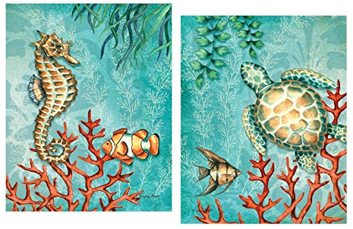 Sea Life Turquoise and Orange Under the Ocean Fish Turtle Seahorse and Coral; Coastal Décor; Two 8x10in Mounted Prints. Teal/Orange