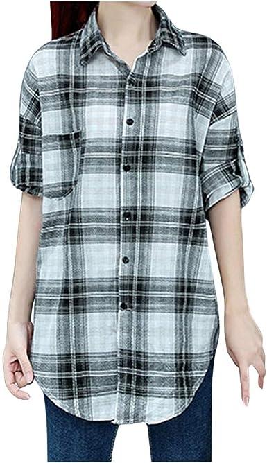 beautyjourney Camisa de Manga Larga a Cuadros para Mujer Blusa Informal de Manga Larga Suelta con Botón y Bajo Irregular Camisetas Básicas Tops: Amazon.es: Ropa y accesorios