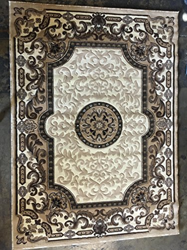 Traditional Persian Area Rug Ivory Kingdom Design D123 (5 feet 2 inches X 7 feet 1 (Ivory Persian Rug)