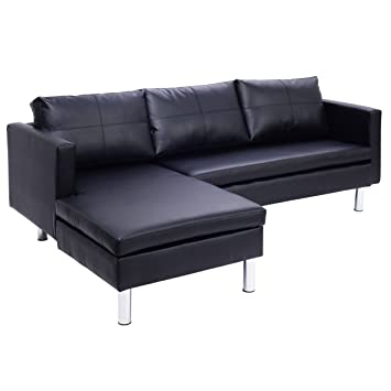 Amazon Giantex Black 3 Leather Seat Sofa and Chaise Lounge