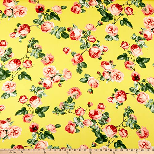 - Fabric Merchants Double Brushed Poly Jersey Knit English Roses Fabric, Yellow/Mauve, Fabric By The Yard