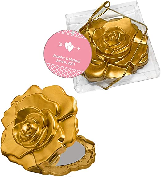 Ornate Matte Gold Rose Design Compact Mirror ~ Party Favors /& Gifts