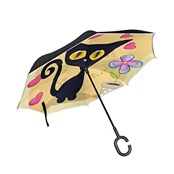 Mnsruu - Paraguas invertido de Doble Capa con diseño de Gato y corazón, protección UV