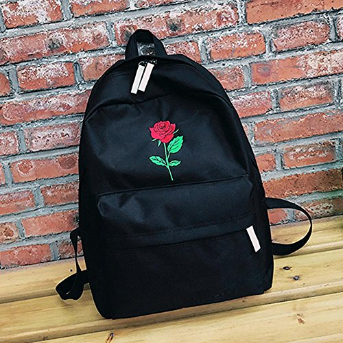 Embroidered Students Loves Prosperveil Canvas Unisex Bag Black School Casual Backpack Rose Roses REAwwS1Bq