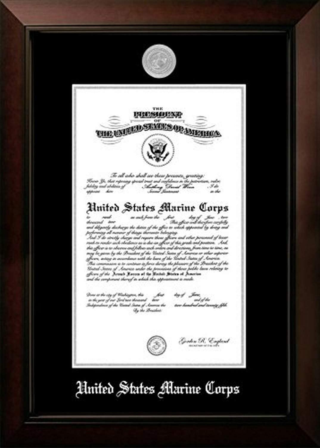 8 x 10 Campus Images MACLG0028x10 Marine Certificate Legacy Frame with Silver Medallion