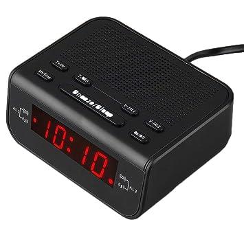 Lorenlli Radio Reloj Despertador Digital FM con Alarma Dual Temporizador de Reposo LED Pantalla de Tiempo