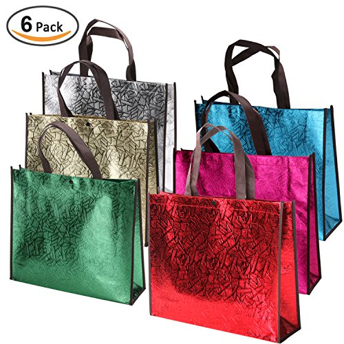 Bag Bling (Rumcent Bling Bling Glossy Non-woven Laser Tote Bag Gift Bag, Chic Reusable Grocery Shopping Bag, Protective Overlook Edging Design, Waterproof, Medium - Assorted 6 Colors, 6 PCS)