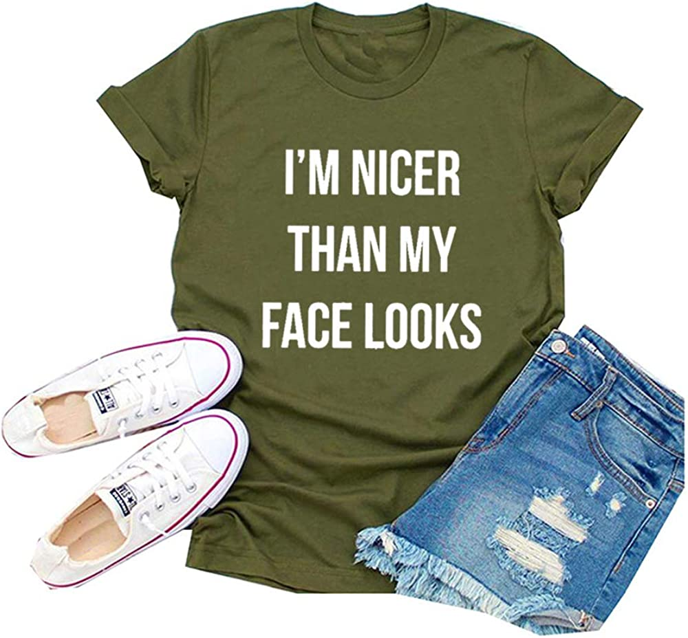 ZYX Women Im Nicer Than My Face Looks Letter Print Tops Casual Short Sleeve Heart Graphic Tee T-Shirt