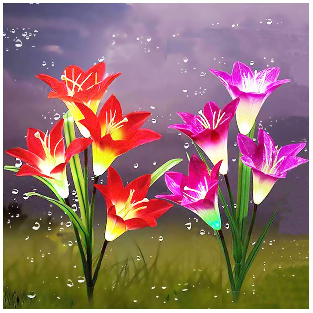 Outdoor Solar Garden Stake Lights,Upgraded LED Solar Powered Light, Multi-Color Auto-Changing 8 Bigger Lily Flower Decorative Lights for Garden,Patio,Backyard(2 Pack,Purple&Red)