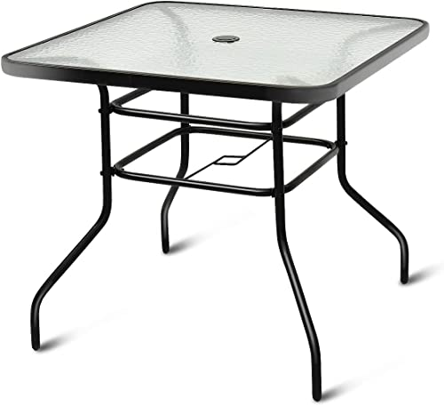 Tangkula Patio Table Outdoor Garden Balcony Poolside Lawn Glass Top Steel Frame All Weather Dining Bistro Table Square Black 32″