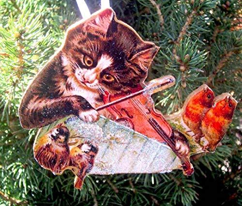 Cat Playing Violin Ornament Handcrafted Wooden Christmas, Robin Bird Decoration, Birdwatcher Gift, Christmas Carol Sheet Music Teacher