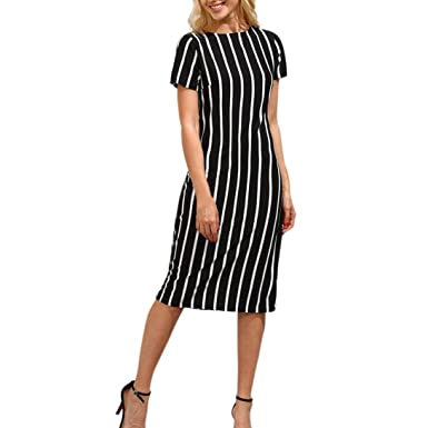 9ded6e5d356 Elogoog Fashion Women s Short Sleeve Striped Work Office Business Round  Neck Sheath Midi Pencil Dress (