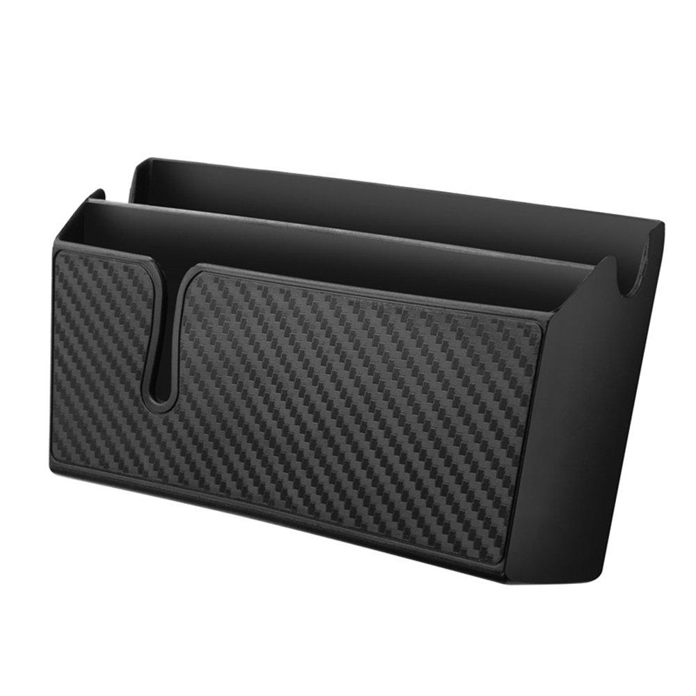 ZaCoo Carbon Fiber Texture Car Vent Storage Organizer Phone Holder Glasses Holder Pen Holder Coin Holder Key Holder Car Organizer Pocket Large with Double-Layer Sticker