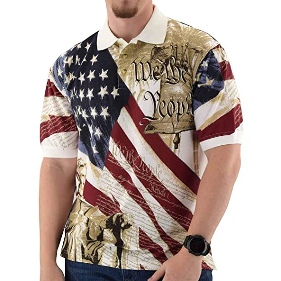 5f156127 Cotton Traders Allover Patriotic Men's Polo Shirt at Amazon Men's Clothing  store:
