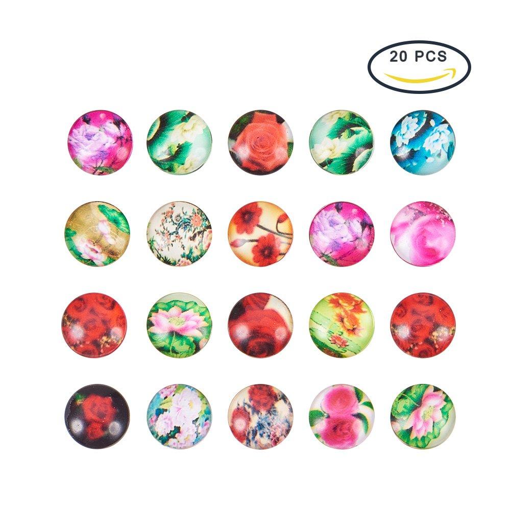 PandaHall - Lot de 20 Cabochon Demi-rond en Verre de Theme Yeux Imprime Ornament de Bijou Couleur Melangee 12x4mm wh-X-GGLA-A002-12mm-AB