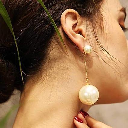 2f56018333bc Jovono - Pendientes de diseño creativo con perlas grandes para mujeres y  niñas