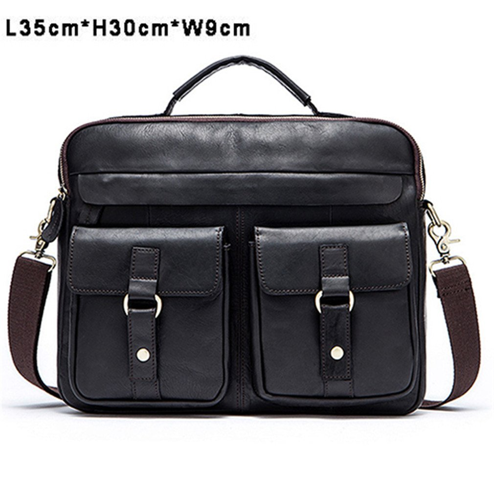 86fe384266 Amazon.com  Men Bag Crossbody Bags Totes Leather Handbags Messenger Laptop  Bag Leather Shoulder Bags Men Briefcases 8001 L Black  Sports   Outdoors
