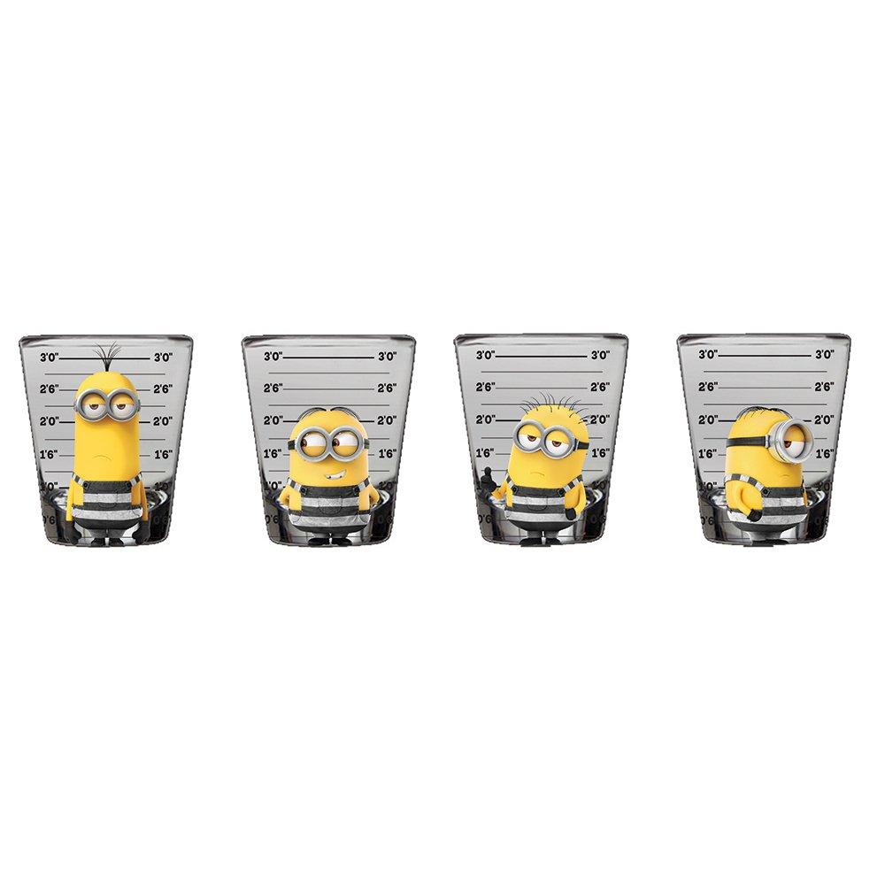 Silver Buffalo DM111864 Despicable Me Minions Mugshot Mini Glasses, 4-Pack
