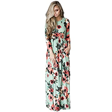 7fe075ff6e3 DREAMLOVER Women Floral Print Retro Long Dress Long Sleeve Casual Maxi Dress  With Pocket Green Small