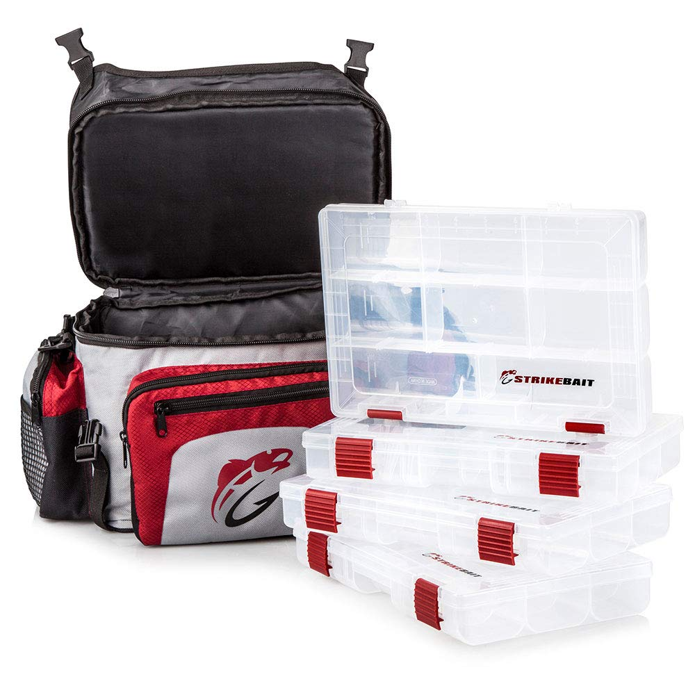 2ff9b2df9267 STRIKEBAIT Fishing Tackle Bag - Lightweight and Easier to Carry Than Boxes  - Keeps Your Gear Organized, Safe and Dry - Waterproof Bags Incl 4 Tackle  ...