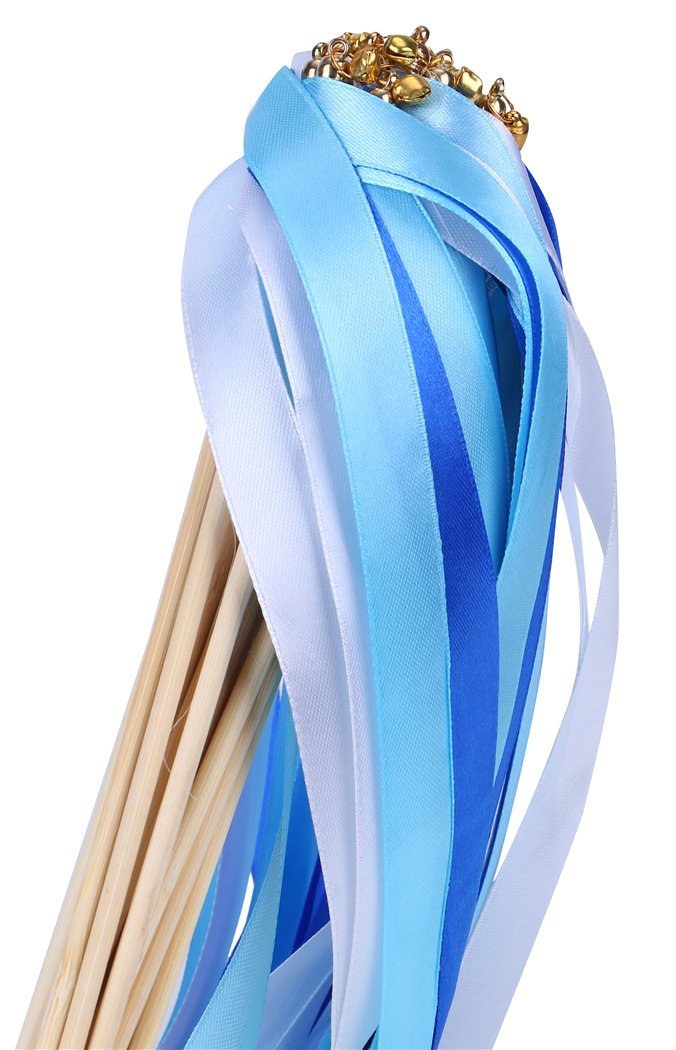 30pcs Ribbon Wands Party Streamers for Wedding Party Activities (Royal Blue)