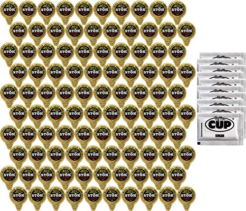 100 Ct SToK Caffeinated Black Unsweetened Cold Brew Coffee Shots with By The Cup Sugar Packets ()