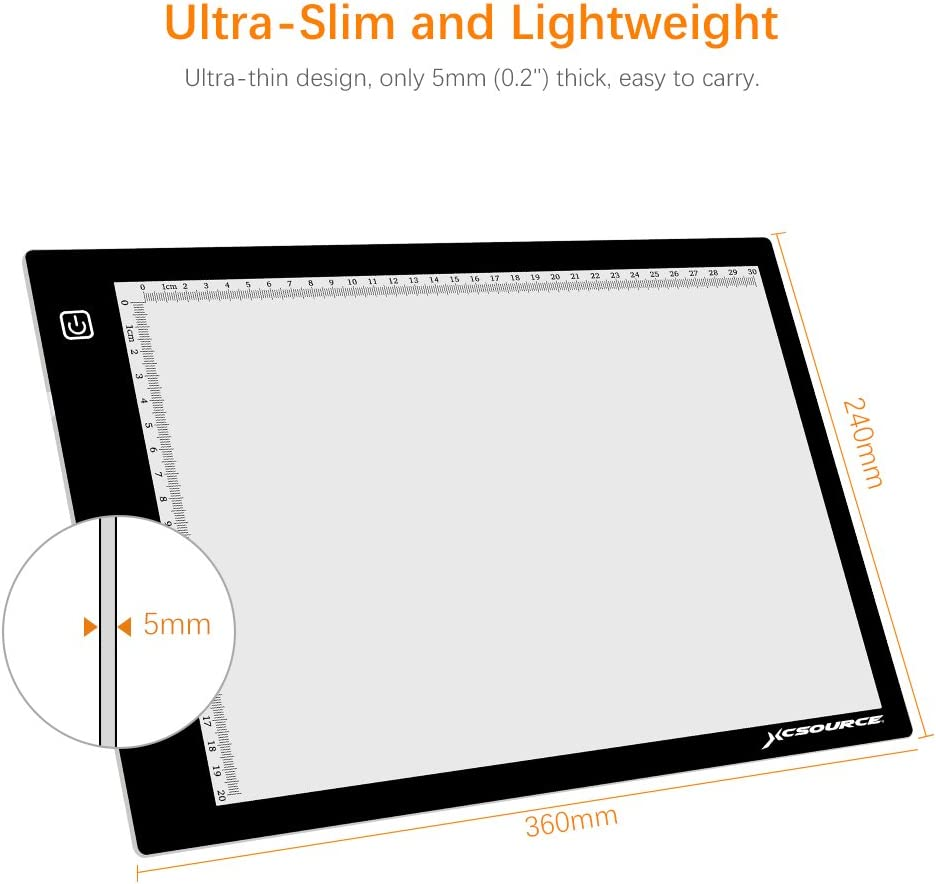 XCSOURCE A4 Ultra Slim LED Light Box Light Pad Artcraft Drawing Board Stencil Tracing Tattoo Copy Table Pad Adjustable Brightness with USB Cable XC702